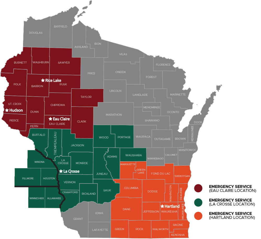Benedict Sales & Service Wisconsin locations map